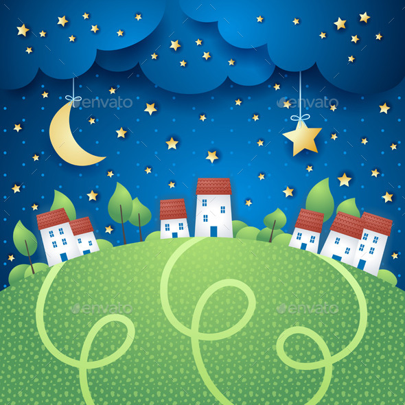 Night Landscape with Village - Landscapes Nature