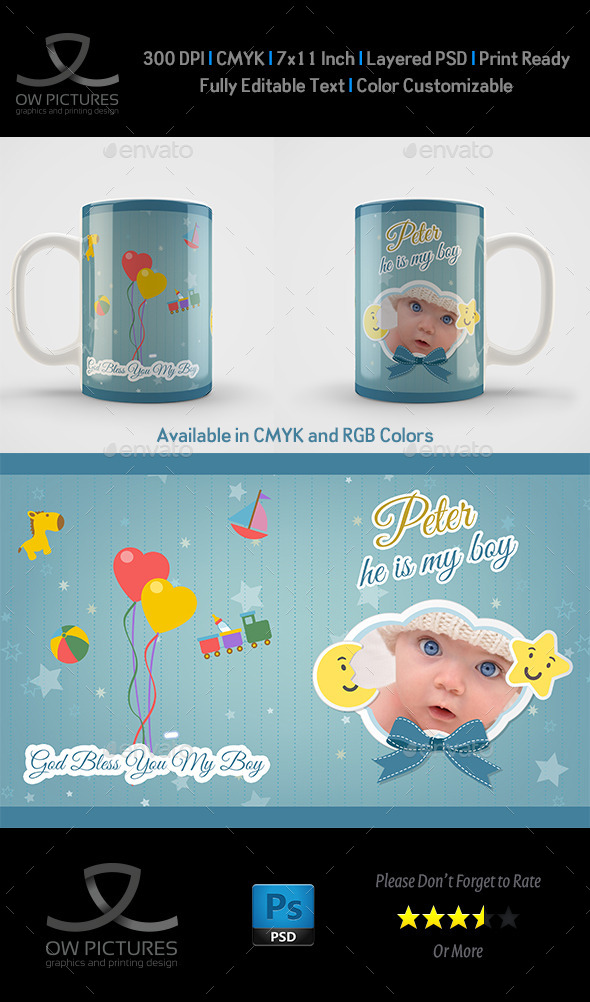 New Boy Born Mug Art Design Template - Miscellaneous Print Templates
