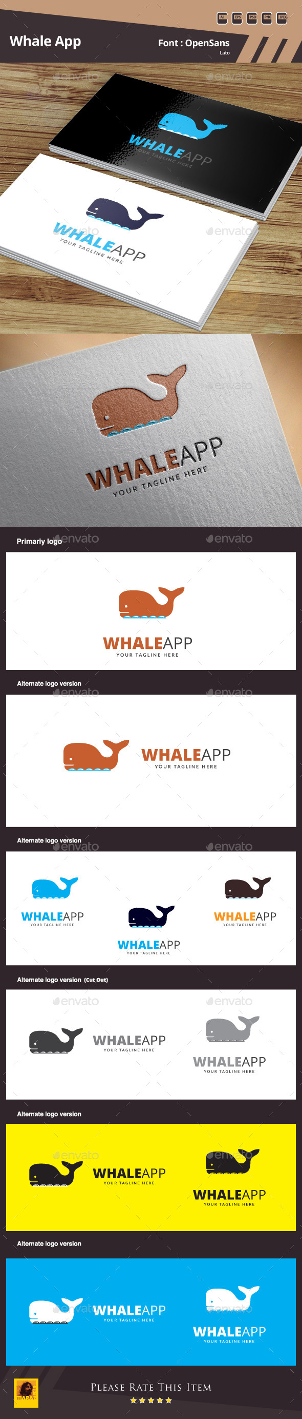 Whale App Logo Template - Animals Logo Templates