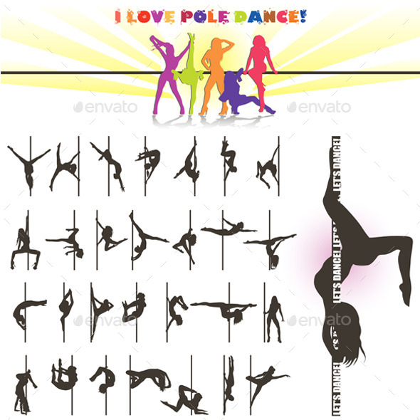 Silhouette of Pole Dancers - Sports/Activity Conceptual