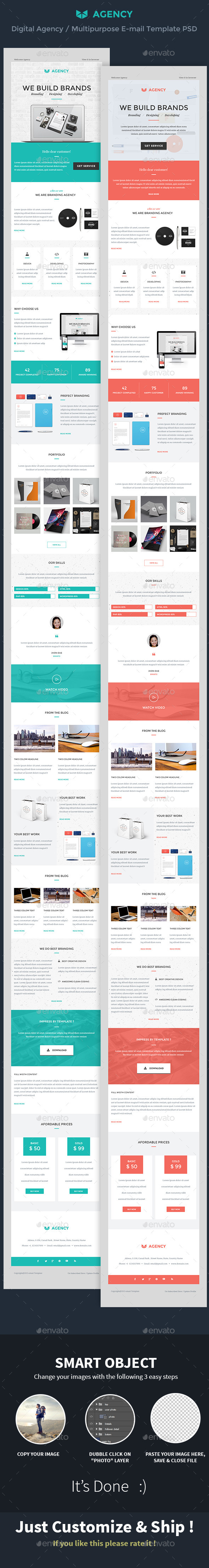 Digital Agency / Multipurpose E-mail Template PSD - E-newsletters Web Elements