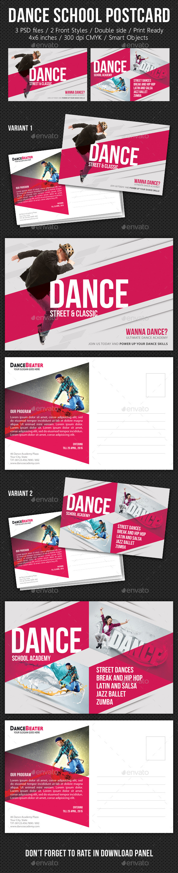 Multiuse Street Dance Postcard V01 - Cards & Invites Print Templates