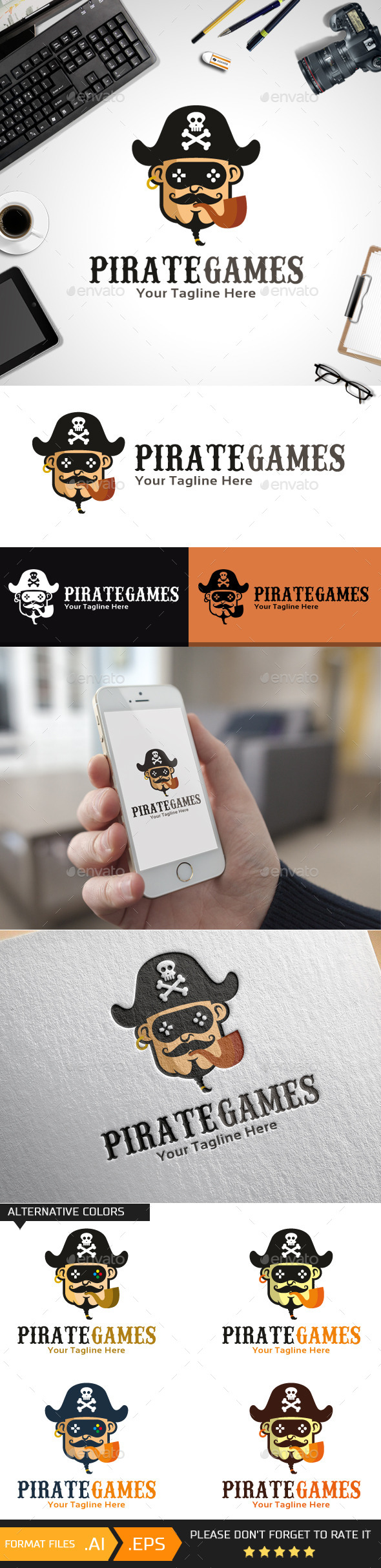 Pirate Games Logo Template - Humans Logo Templates