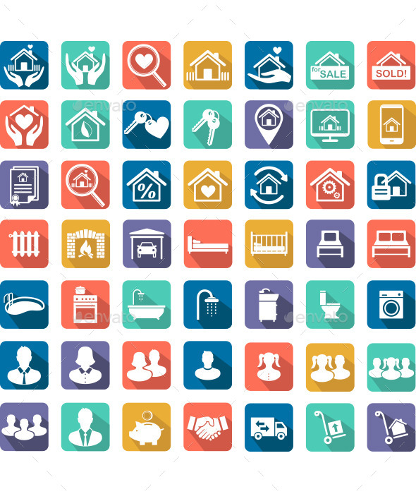 Real Estate and Home Icon Set - Vectors