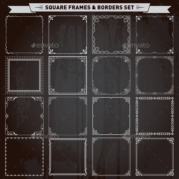 Decorative Square Frames and Borders Set - Borders Decorative