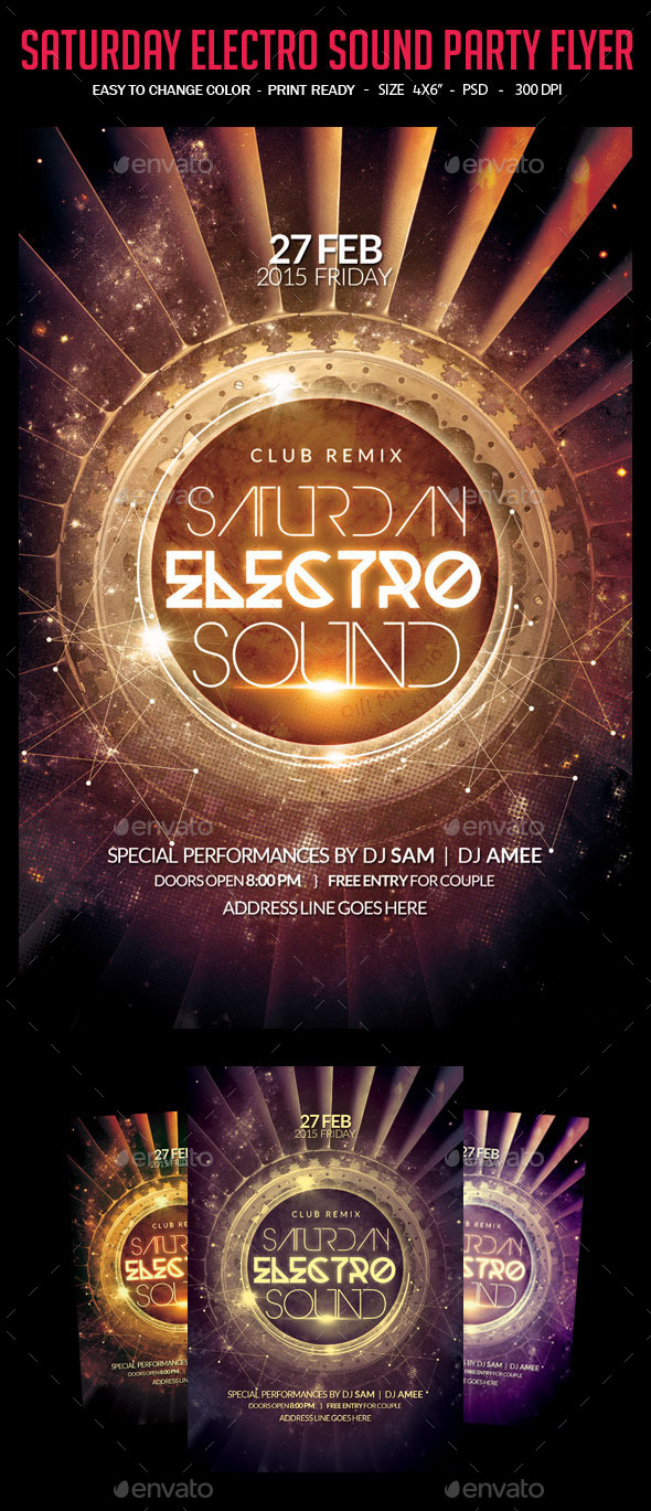 Saturday Electro Sound Party Flyer - Clubs & Parties Events