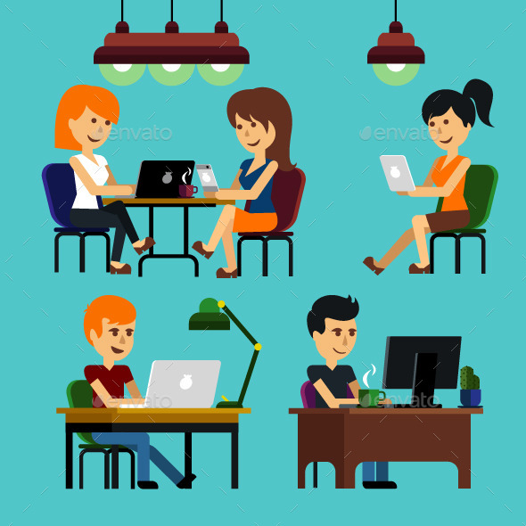 People Sitting in Office - People Characters