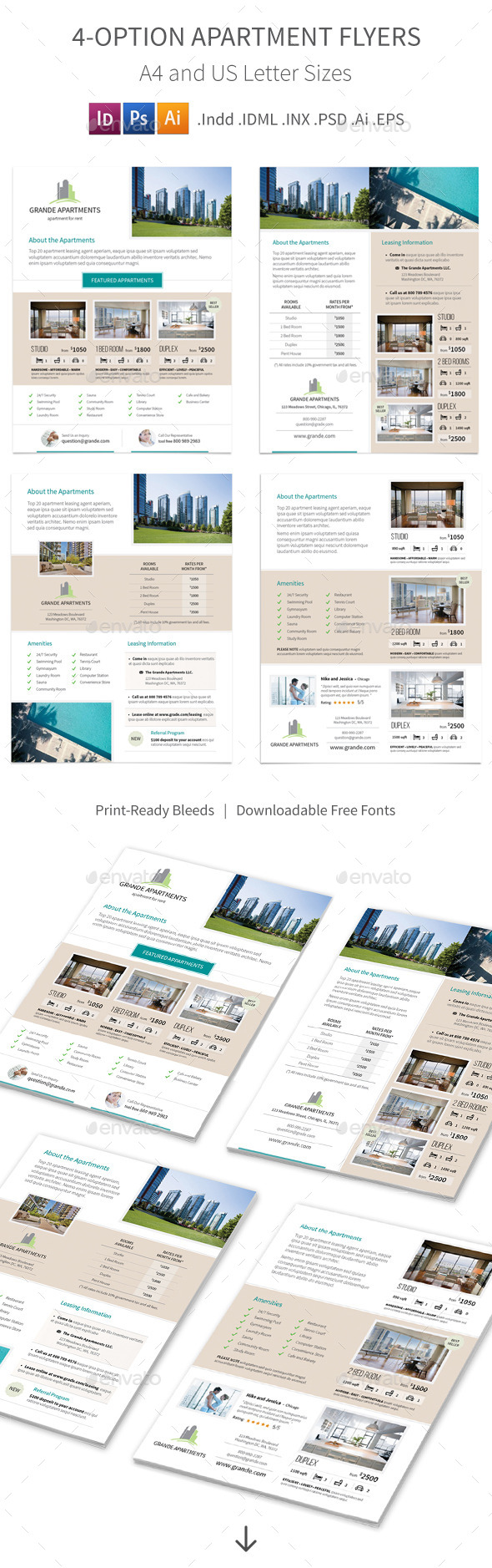 Apartment Real Estate Flyers – 4 Options - Corporate Flyers