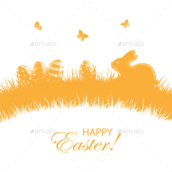 Orange Background with Easter Eggs and Rabbit - Animals Characters