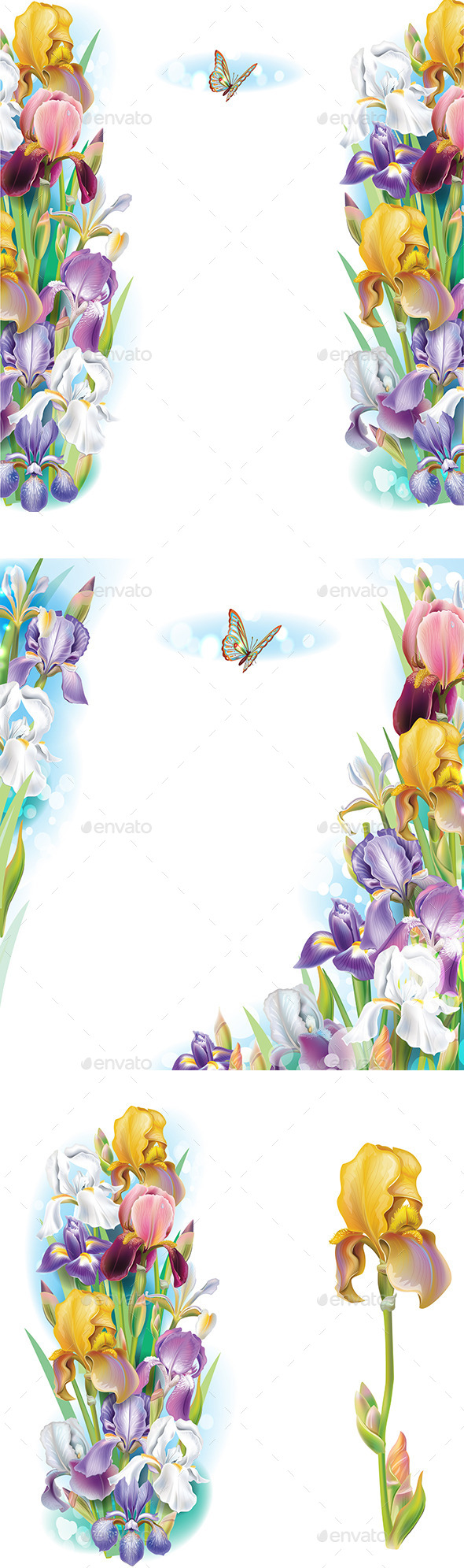 Set of Borders from Iris Flowers - Flowers & Plants Nature