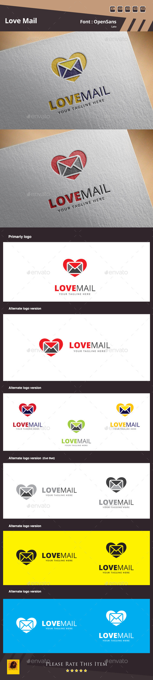 Love Mail Logo Template - Symbols Logo Templates