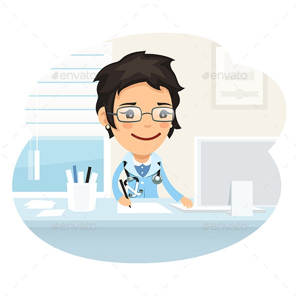 Woman Doctor Character Sitting at the Desk - Health/Medicine Conceptual