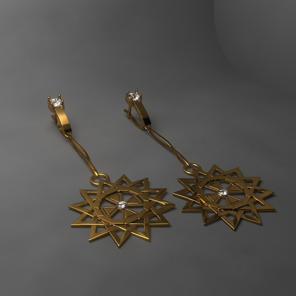 Gold Earrings - 3DOcean Item for Sale