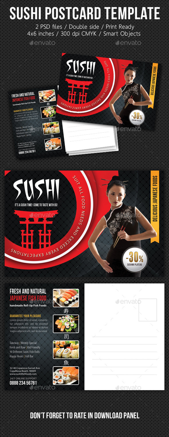 Sushi Restaurant Postcard Template V01 - Cards & Invites Print Templates