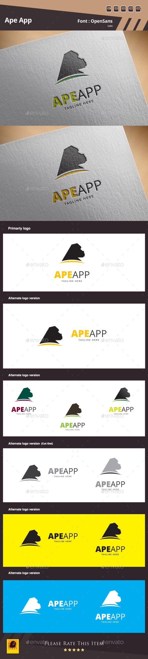 Ape App Logo Template - Animals Logo Templates