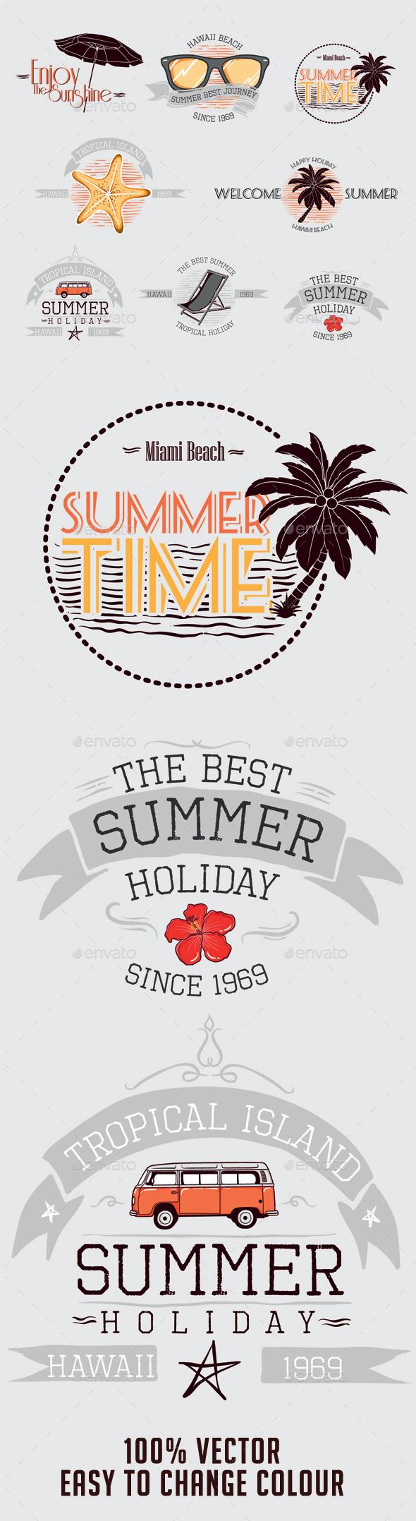 Summer Badges - Seasons/Holidays Conceptual