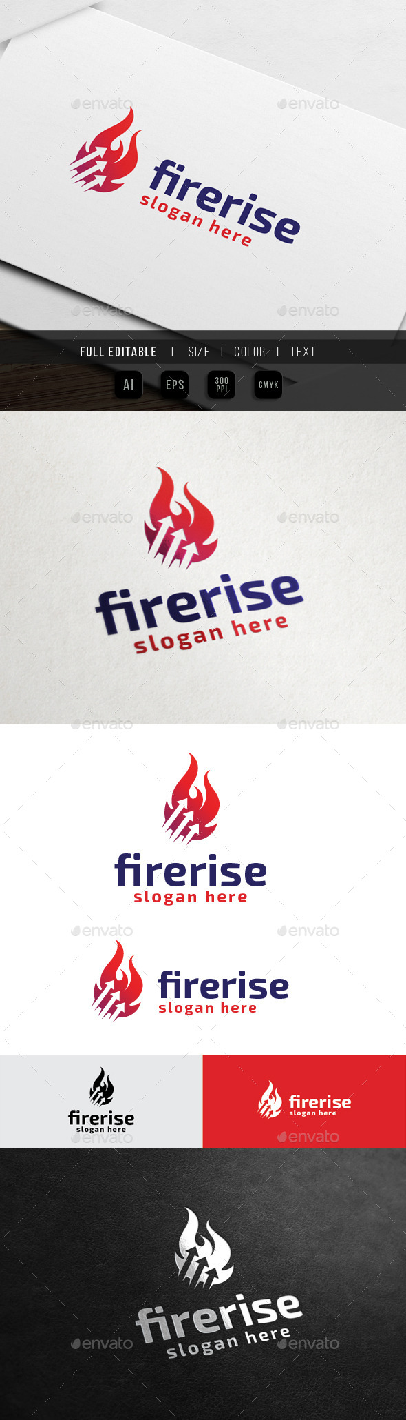 Fire Up - Flame Chart Finance - Symbols Logo Templates