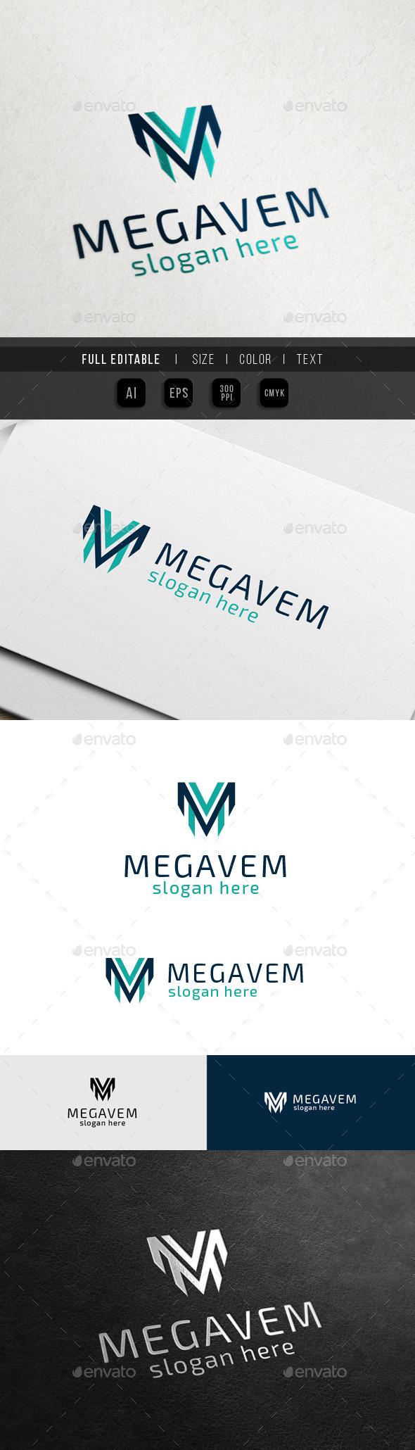Mega Victory - M V letter - Letters Logo Templates
