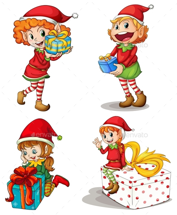 Santa Elves with Gifts - People Characters