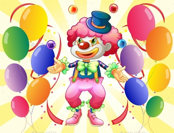 Clown and Balloons - People Characters