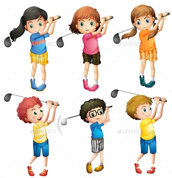 Kids Playing Golf - People Characters