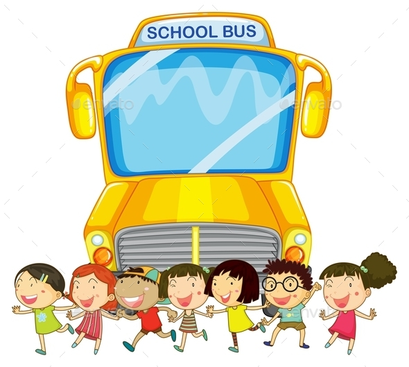 Children and School Bus - People Characters