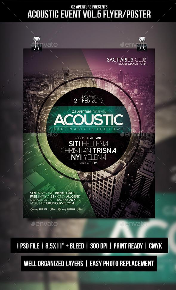 Acoustic Event Flyer Templates Vol.5 - Events Flyers