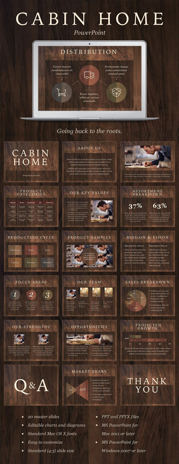 Cabin Home PowerPoint Template - PowerPoint Templates Presentation Templates