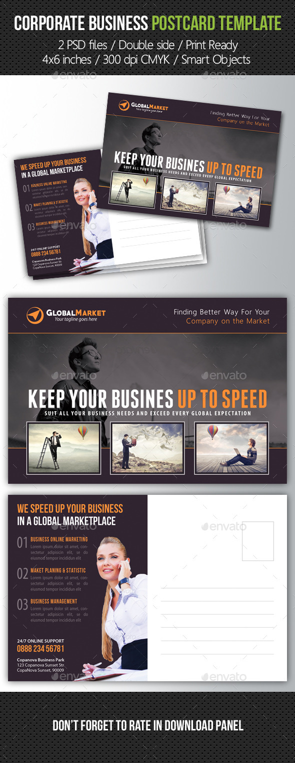 Corporate Business Postcard Template V05 - Cards & Invites Print Templates