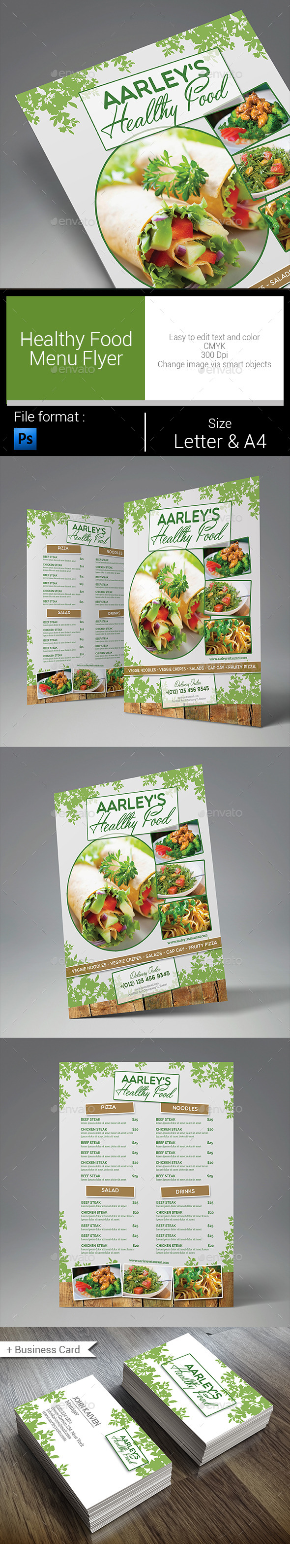 Healthy Food Menu Flyer - Food Menus Print Templates