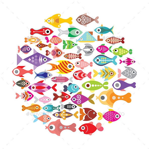 Fish Round Frame  - Animals Characters