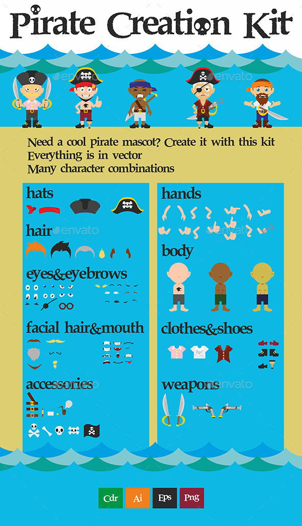 Pirate Creation Kit - Characters Vectors