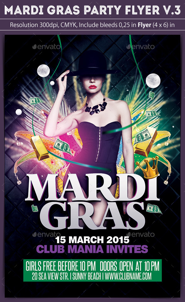 Mardi Gras Flyer v.3 - Clubs & Parties Events