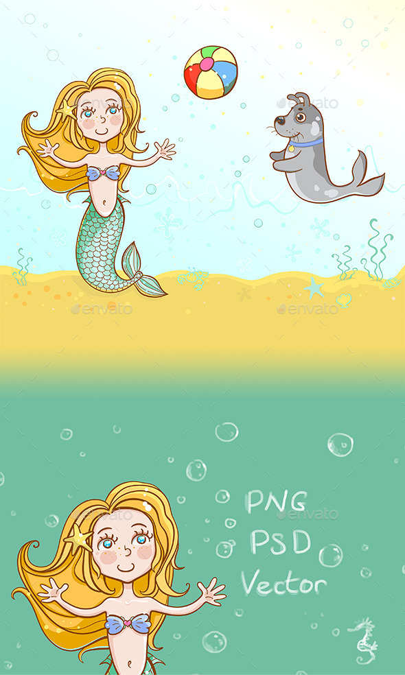 The Little Mermaid Playing Ball with her Pet Dog - Miscellaneous Characters