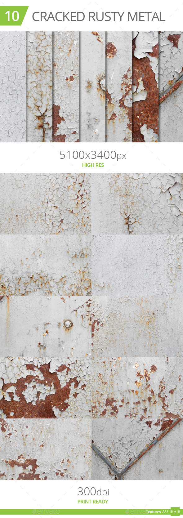 10 Cracked Rusty Metal Textures - Industrial / Grunge Textures