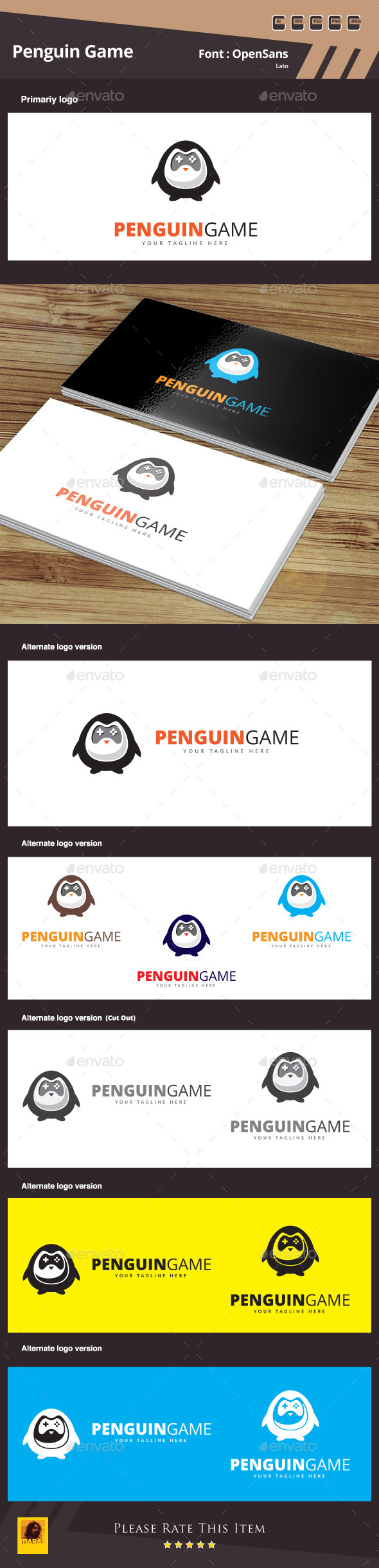 Penguin Game Logo Template - Animals Logo Templates