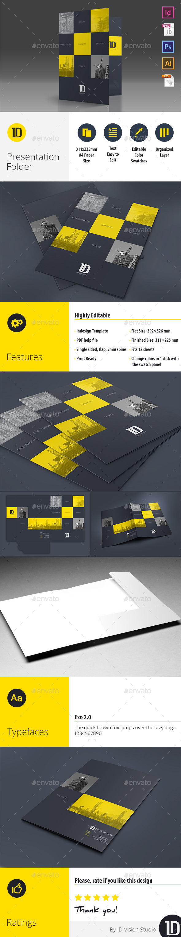 A4 Self Locking Multipurpose Presentation Folder 002 - Stationery Print Templates