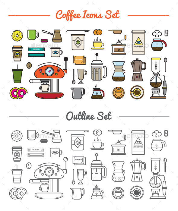 Great 32+32 Vector Coffee Icons Set - Icons