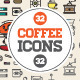 Great 32+32 Vector Coffee Icons Set