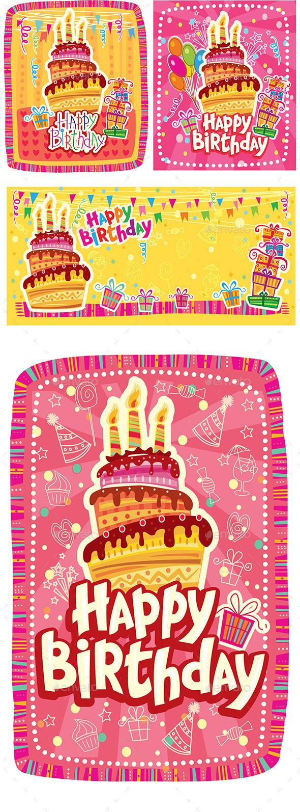 Set of Happy Birthday Cards  - Birthdays Seasons/Holidays