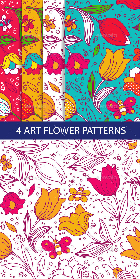 Colorful Seamless Pattern with Tulips - Patterns Decorative