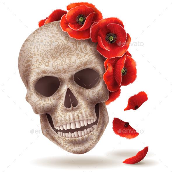 Skull Mask with Poppy Flowers. - Halloween Seasons/Holidays