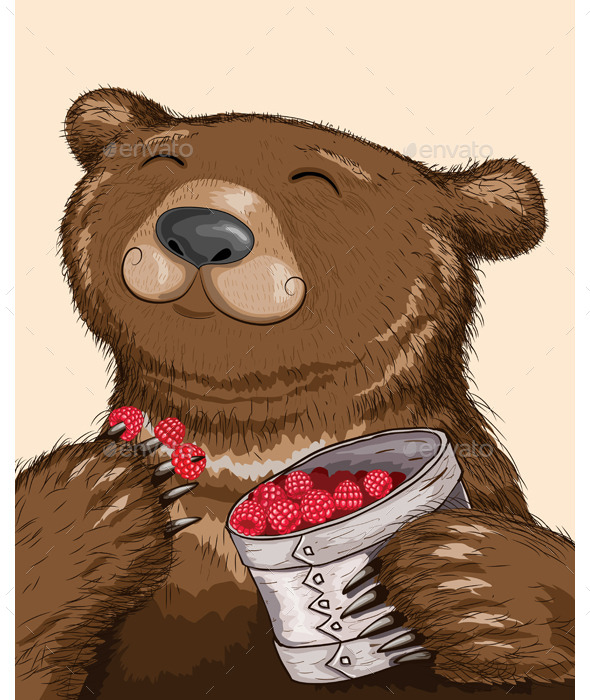Bear Eating Raspberries - Animals Characters