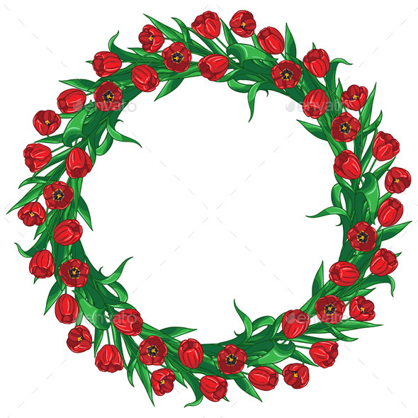 Red Tulips Wreath - Patterns Decorative