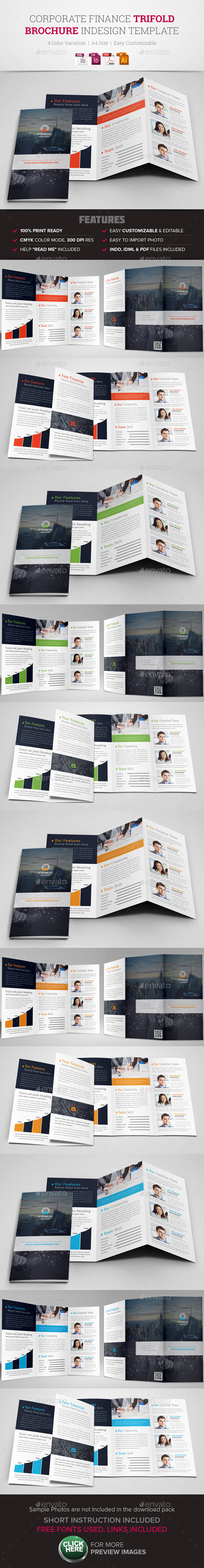 Corporate Finance Trifold Brochure InDesign - Corporate Brochures
