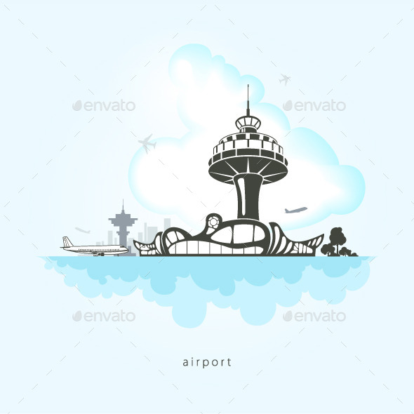 Airport with Planes and Control Tower  - Travel Conceptual