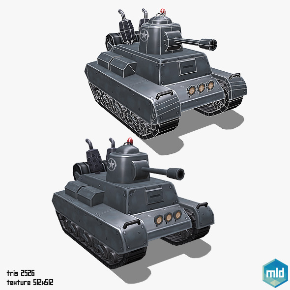 Low Poly Cartoon Middle Tank - 3DOcean Item for Sale