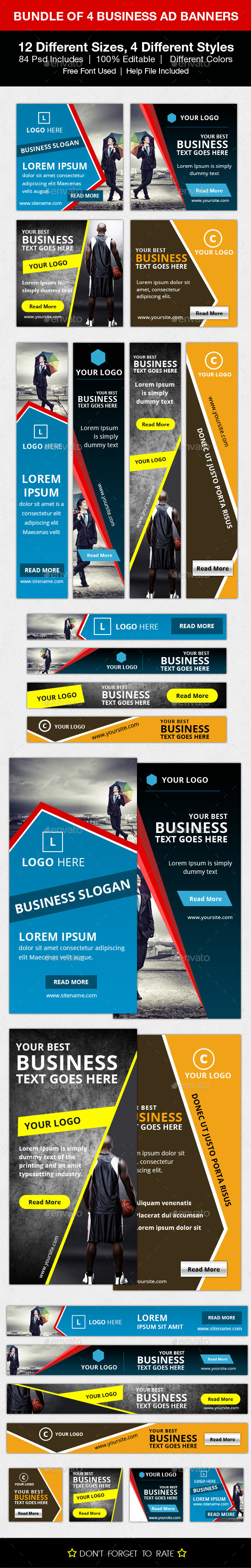 Bundle of 4 Business Ad Banners - Banners & Ads Web Elements