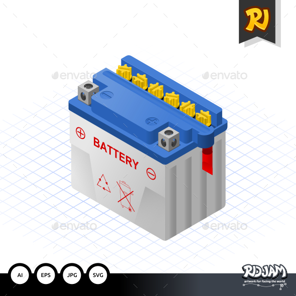 Isometric Wet Battery - Man-made Objects Objects