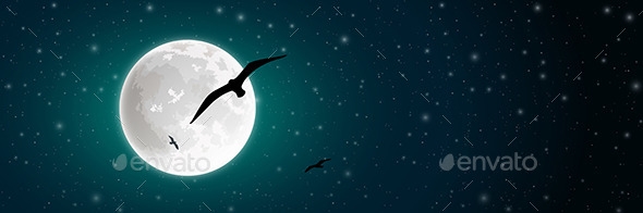 Moon and Bird - Miscellaneous Vectors